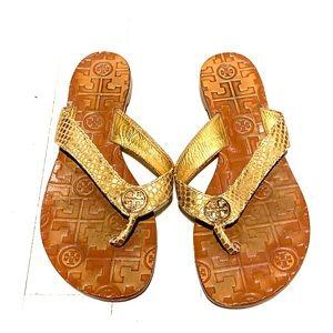 Tory Burch gold snake skin thong sandal size 6